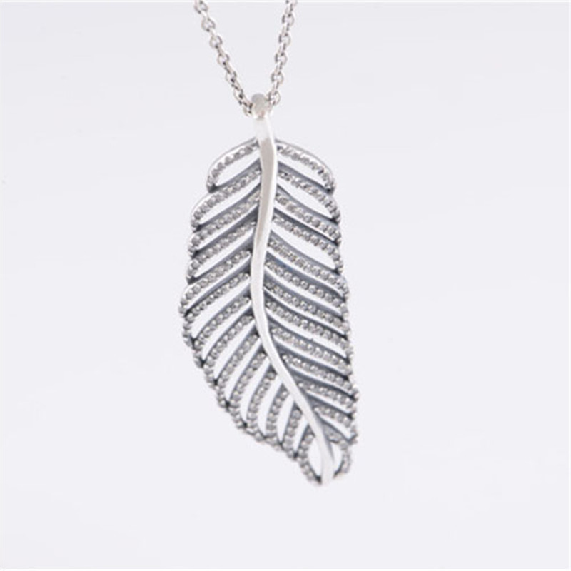 Clear CZ Angel Feather Pendant Necklaces for Women 925 Sterling Silver Jewelry Long Chain Crystal Statement