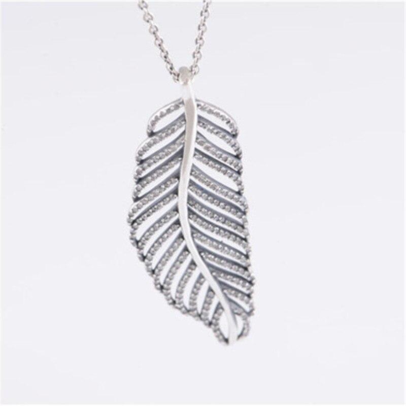 Clair CZ ange plume pendentif colliers pour femmes 925 bijoux en argent Sterling longue chaîne cristal déclaration colliers filles cadeau
