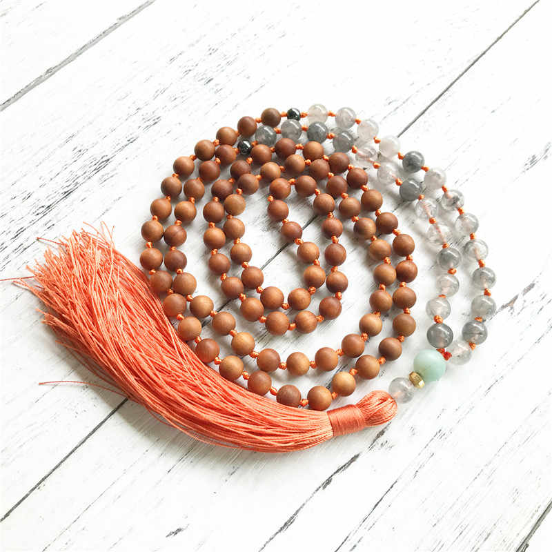 Высокое качество сандаловое дерево 108 бусы мала ожерелье серый кварц деревянные бусины мала ювелирные изделия для медитации завязанные кисточкой ожерелье Йога