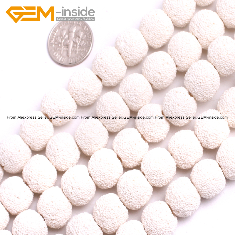 White Lava Rock Beads For Jewelry Making 12mm 15inches DIY Jewellery FreeShipping Wholesale Gem-inside