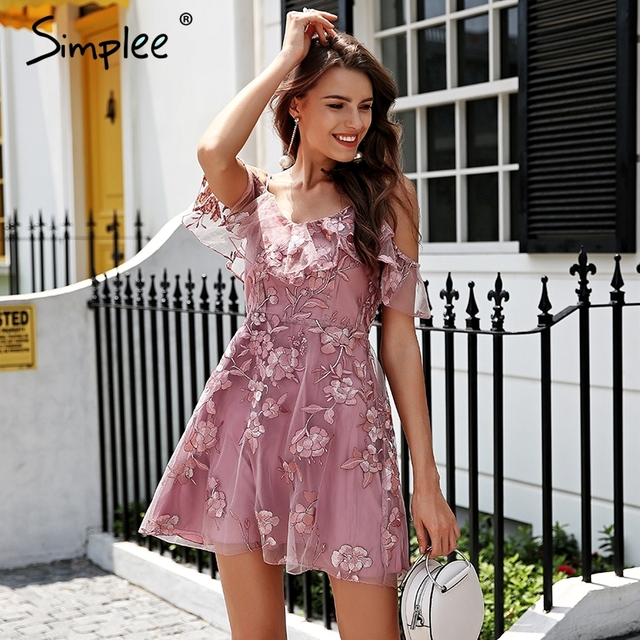 Simplee Cold shoulder strap lace dress women Embroidery mesh overlay summer dress 2018 Backless sweet pink party dress vestidos