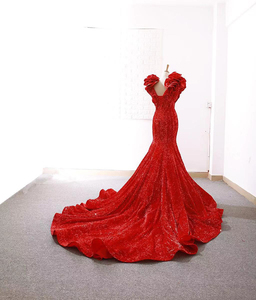 Image 3 - J66736 jancember sereia vestidos de noite profundo decote em v mangas especiais boné flores rendas vermelho noiva vestidos de festa de casamento abendkleid