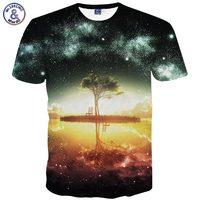 Space Galaxy T Shirt Men Women Harajuku Hip Hop Brand T Shirt 3d Print Nightfall Tree