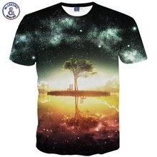 Mr.1991INC Space Galaxy T-shirt Men/Women Harajuku Hip hop Brand T-shirt 3d Print Nightfall Tree Summer Tops Tees T shirt