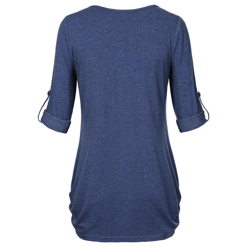 HTB1fPTuPFXXXXamXpXXq6xXFXXXd - New Women Summer T-shirt Button Long Sleeve Female