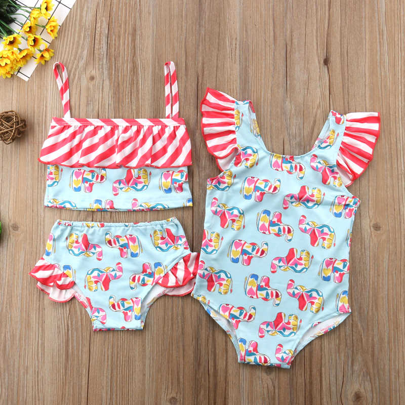 9421db7d06 2018 Swimwear Swimsuit Girls Kids Children Ruffle Striped Elephant Bathing  Suit One Piece Bikini Outfits Monokini