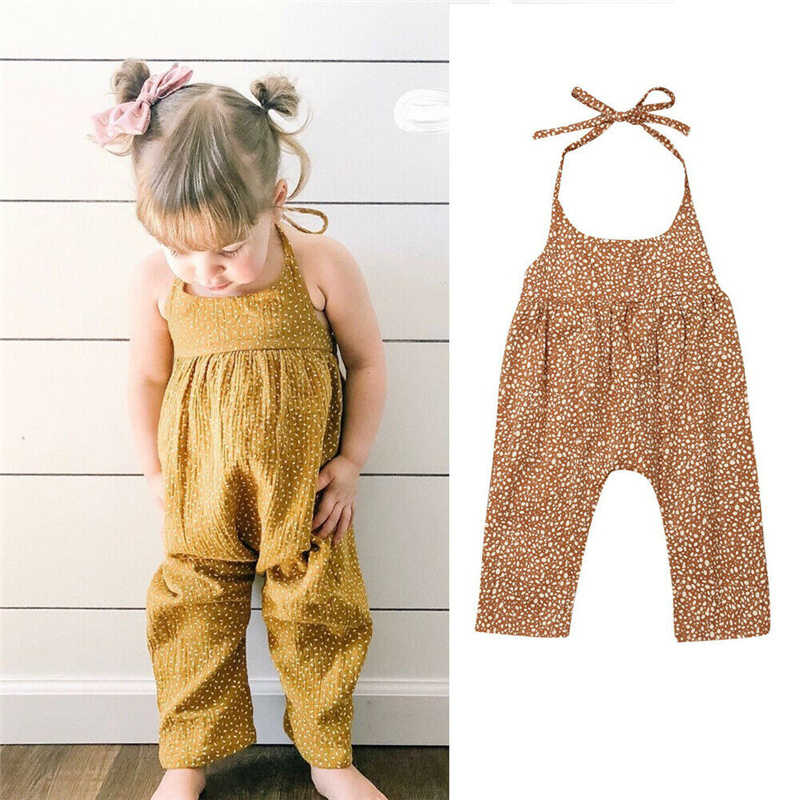 Newborn Infant Kids Baby Girl O-Neck Floral Beige Romper Jumpsuit Outfit Clothes