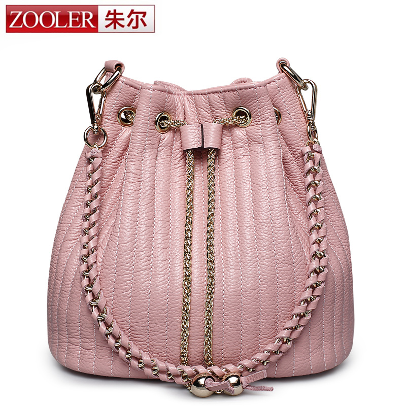 ZOOLER Brand Newest Designer Real Leather Bucket Bag Women Genuine Leather Shoulder Bag Lady Crossbody Chain Rope Bag a main sac