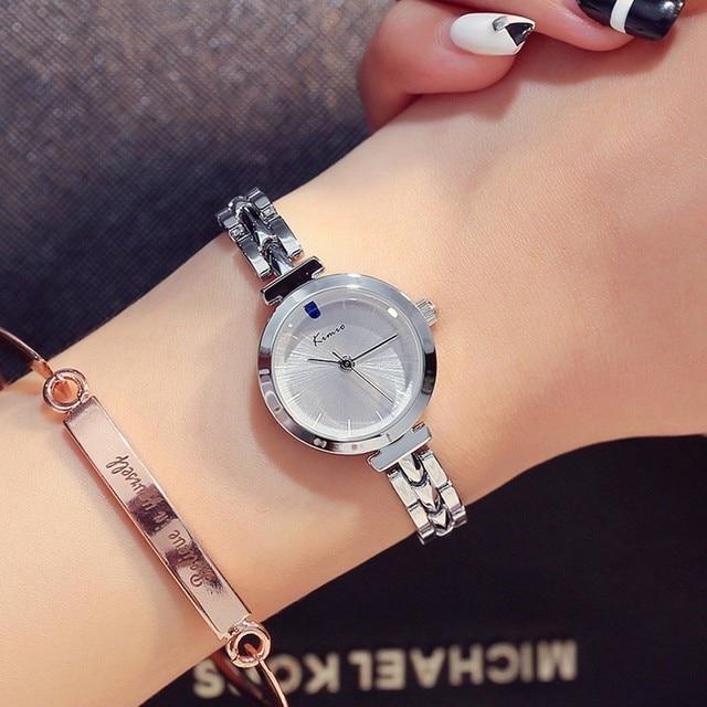 KIMIO Red Crystal Watch Women Simple Rose Gold Bracelet Watches Women Quartz Womens Watches Top Brand Chinese Wrist Watch Clock