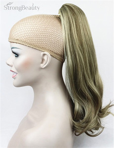 Image 4 - StrongBeauty 45 cm syntetyczne długie przypinany kucyk w kucyk ogon klipsy do przedłużania włosów na włosy proste Style 17 kolor