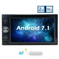 Android 7.1 Car DVD Player GPS Navigation 2 Din Autoradio Bluetooth Stereo Head Unit support Wifi OBD2 with Free 4G Dongle