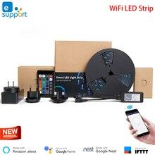 Умная Светодиодная лента eWeLink для домашней автоматизации, водонепроницаемая гибкая RGB полоска с регулируемой яркостью, Wi Fi, работает с Alexa Google Home