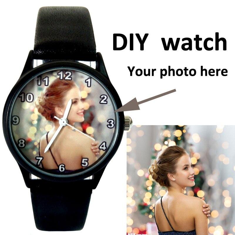 A3317w DIY Mens photo Print wristwatch Customized watches logo printing Black Leather Men Luxury Birthday Gift Idea Custom watch