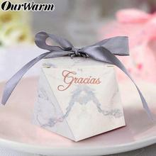 OurWarm Gracias Thank You Candy Boxes Diamond Shape Wedding Favors Gift Box Packing Birthday Party Favor bags