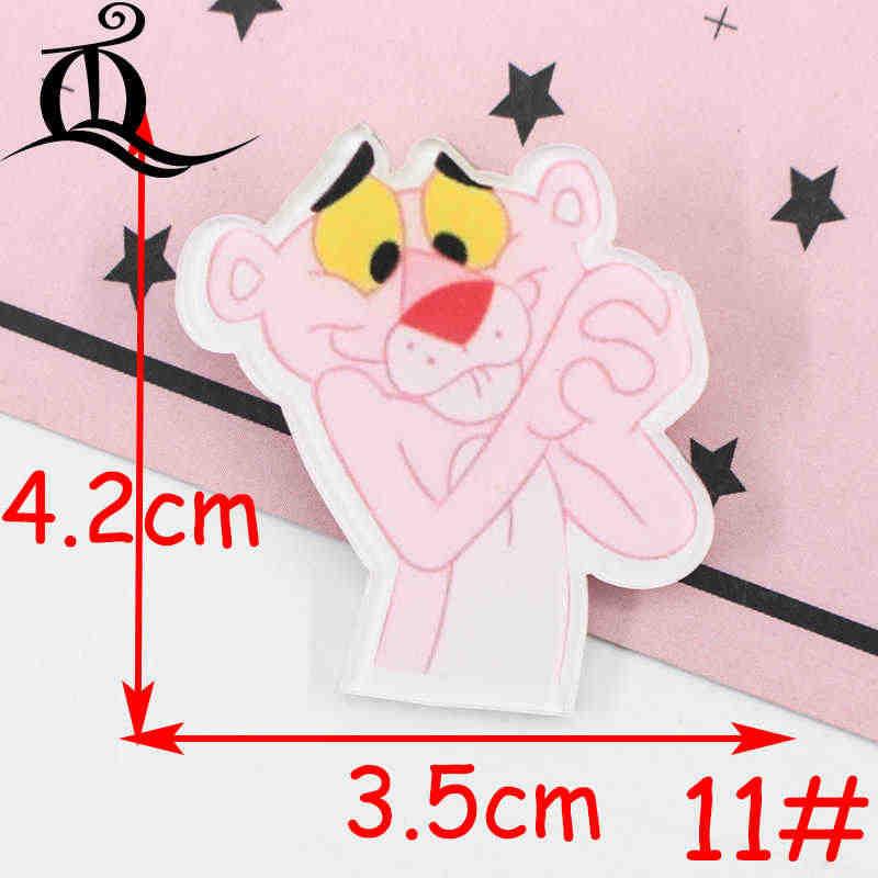 1 PC akrylowe broszki Cartoon różowy leopard broszki plecak Student odzież broszki Pins torba Decor broszka odznaki Z31