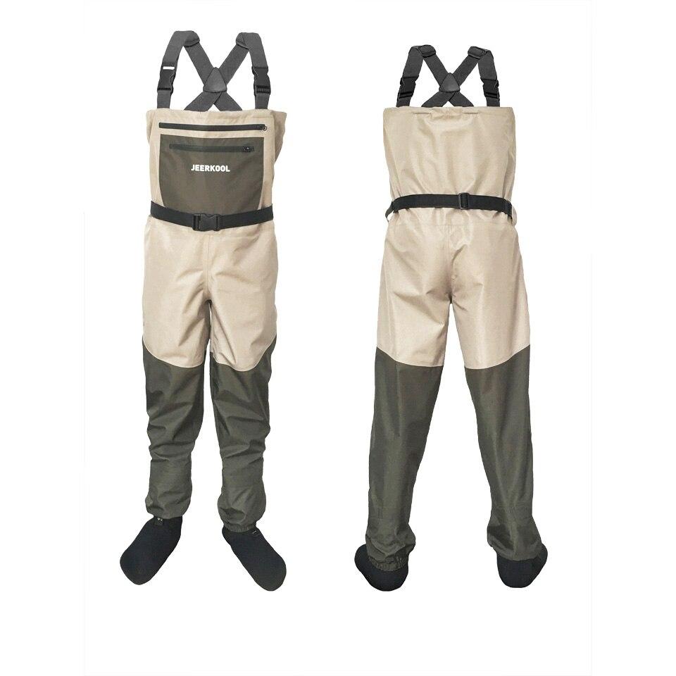 Pêche à la mouche Cuissardes De Chasse Pantalon Étanche convient à Hiver wader de pêche Vêtements avec Doux chaussettes de sport Poitrine Salopette P4