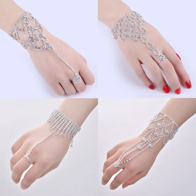 Crystal Slave Bracelets For Women Girls Hand Harness Finger Bracelet Bangles Link Chain Engagement Wedding Party Jewelry Gifts