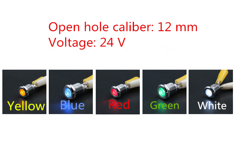 1PCS YT1196 Metal Shell LED signal lamp 24V Open hole caliber 12 mm Led Waterproof Free Shipping 5 Colors image