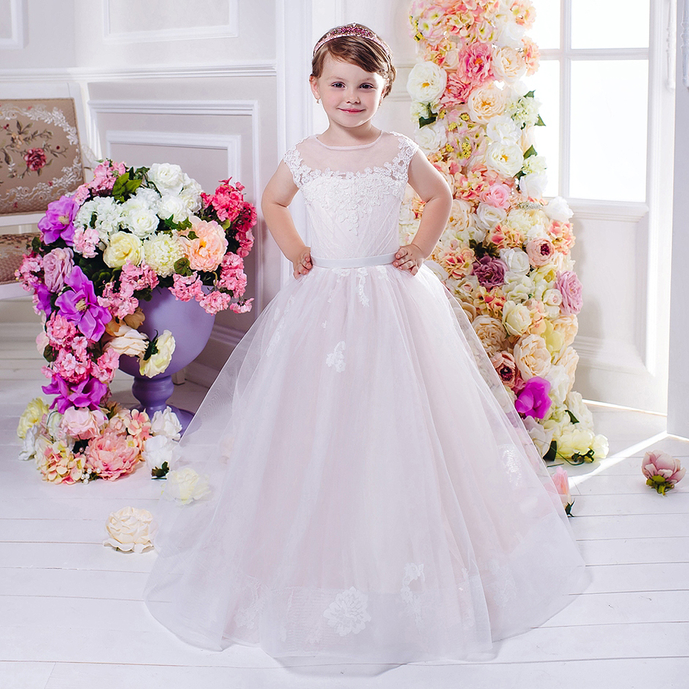 ФОТО Pink Flower Girl Dresses Ball Gown Sleeveless O-Neck Lace Up Solid Vestidos De Comunion Holy Communion Dresses Pageant Gowns