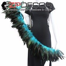 ZPDECOR Rooster Feather 6-8inch Hand Select Wholesale Turquoise Blue Strung Rooster Schlappen Feathers