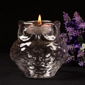 Glass Owl Design Tea Light Votive Candle Holder Candleholder Candlestick 9cm Dia serveware