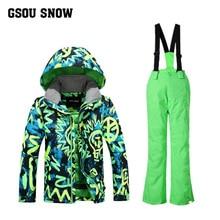 Gsou Snow2017 зимняя Комплектная одежда для детей Детские Пуховые куртки, детский зимний комбинезон, теплый лыжный Детский костюм пуховики и парки, верхняя одежда, пальто+ штаны
