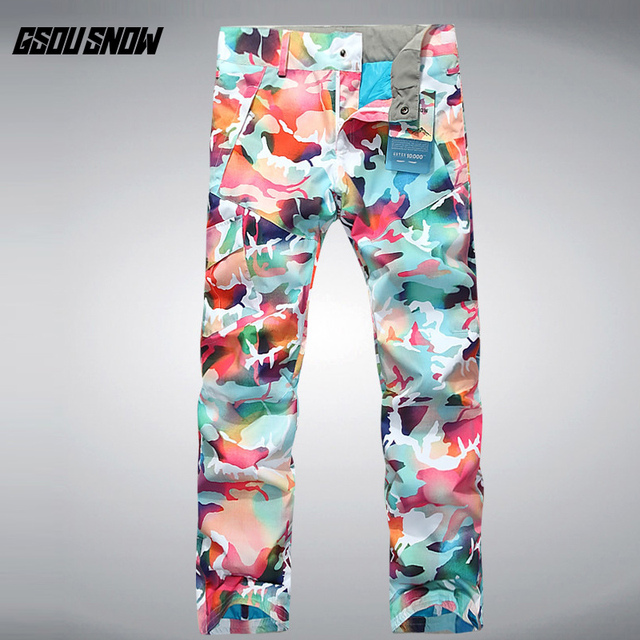 GSOU SNOW Women s Camouflage Ski Pants Outdoor Thickened Warm Waterproof  Windproof Breathable Ski Trousers Size XS 267e61d70
