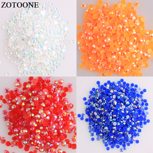 ZOTOONE Flatback Glue On Rhinestones Applique Crystal Clear AB Non Hotfix Nail Rhinestoens For Nails 3D Art Decoration Gems