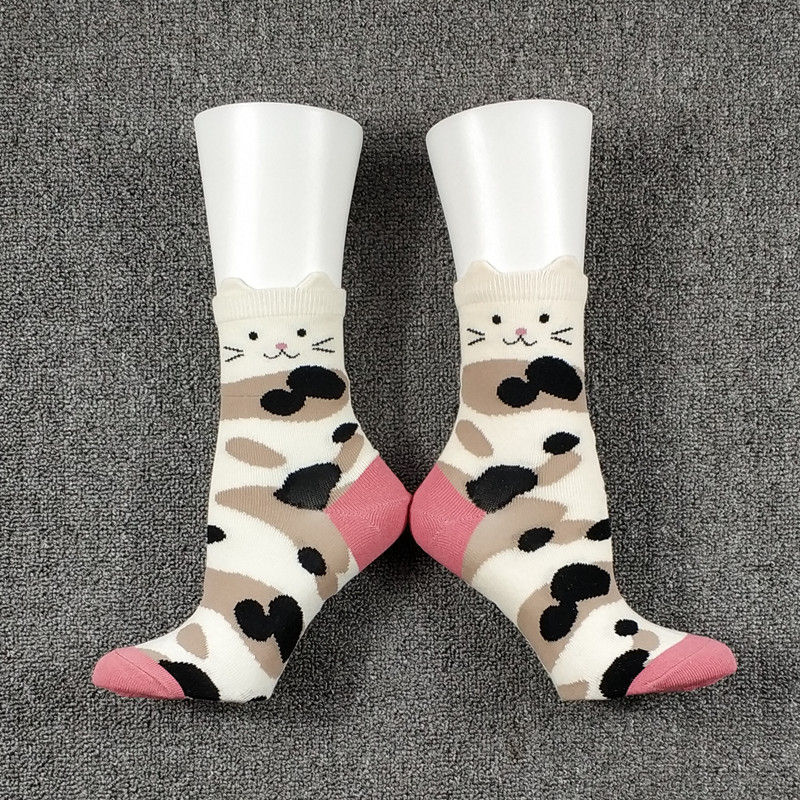 3 Pack Women Female Cat Ear Socks USA Size 5-8, Europe Size 35-38