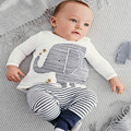 Baby Toddler Infant Boy Lovely Elephant Tops Striped Pants Outfit Set Clothes