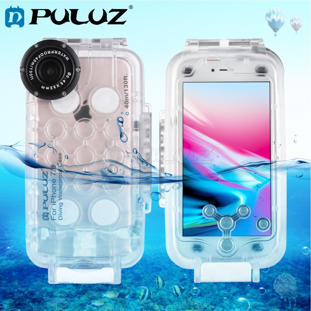 PULUZ For iPhone 8 7 40m 130ft Waterproof Diving Housing Phone Protective Case Photo Video Taking