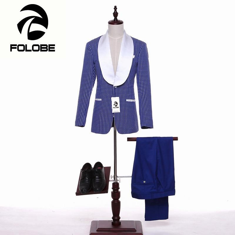 FOLOBE Fashion Blue Dots Mens Suits Wedding Groom Tuxedos Herringbone Retro Gentleman Suits Formal Business Suits Tailored M6