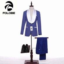 FOLOBE New Arrival Stock Blue Dot Men Wedding Suite Groom Tuxedos Suits Herringbone Retro Gentleman Suits Formal Party Suits M6