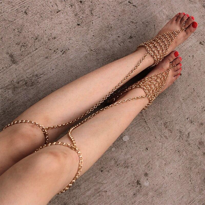 Fashion 1pair Long Beach Sandal Sexy Leg Chain Beach Anklets ...