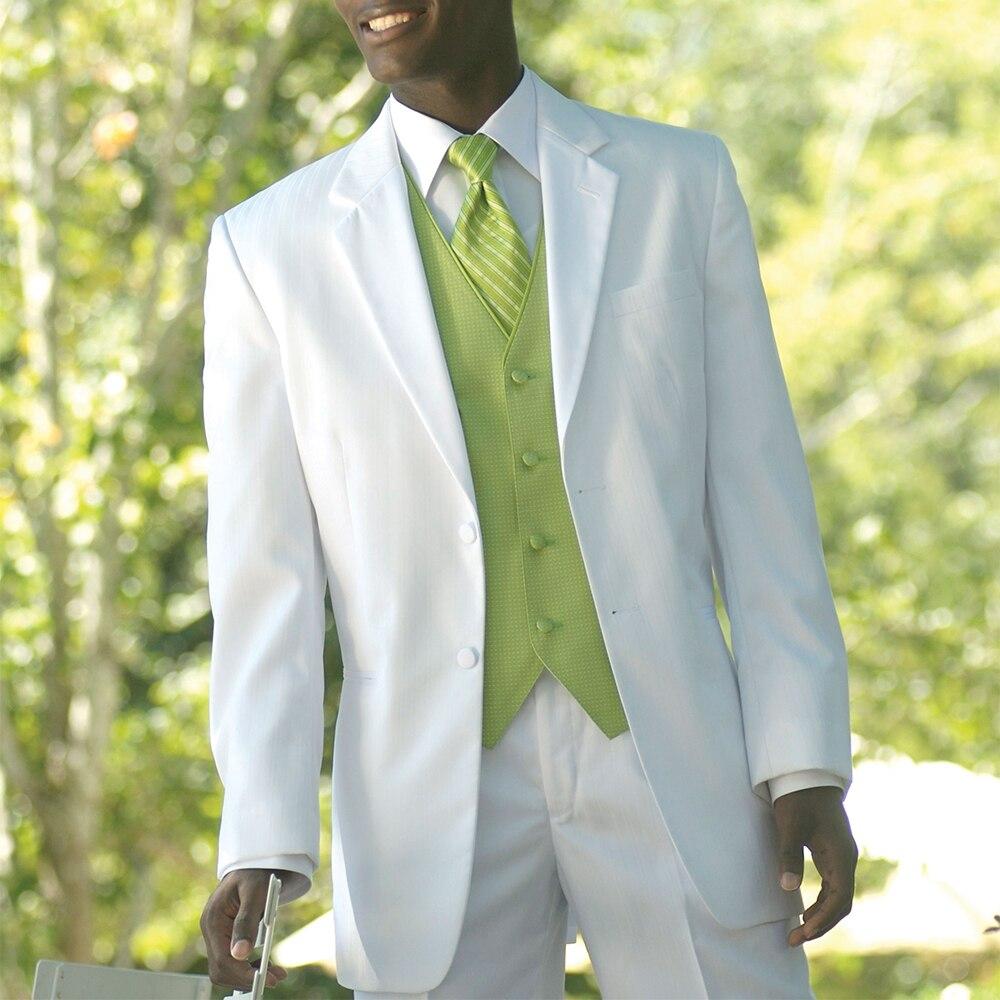 Tailor Made Hochzeit Anzüge Für Männer Bespoke Weiß Anzüge Mit Licht Grün Weste/weste Nach Maß Bräutigam Smoking