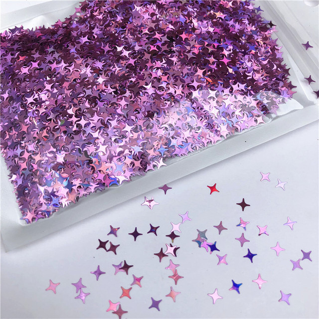 Four Star Glitter Diy Crystal Slime Supplies Ultra-thin Slices Nails Art Tips Box Accessories Decoration Toys For Kids