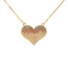 Trendy Full Crystal Heart Necklace Women Gold Color Copper Choker Pendants & Necklaces Female Wedding Jewelry Bijoux
