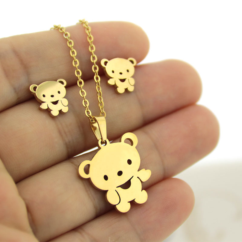 1 Set Gold Color Stainless Steel Little Bear Jewelry Sets Charms Earrings Necklace Women Girls Kids Christmas Gift
