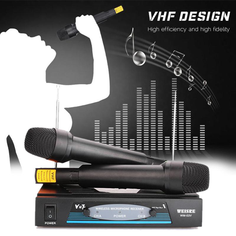 Portable Twin Karaoke Radio VHF Wireless Cordless Handheld Microphone microfono microfone MIC System Set Receiver EU plug  professional vhf dual wireless microphone system mic for shure karaoke singing ktv stage conference computer microfone sem fio