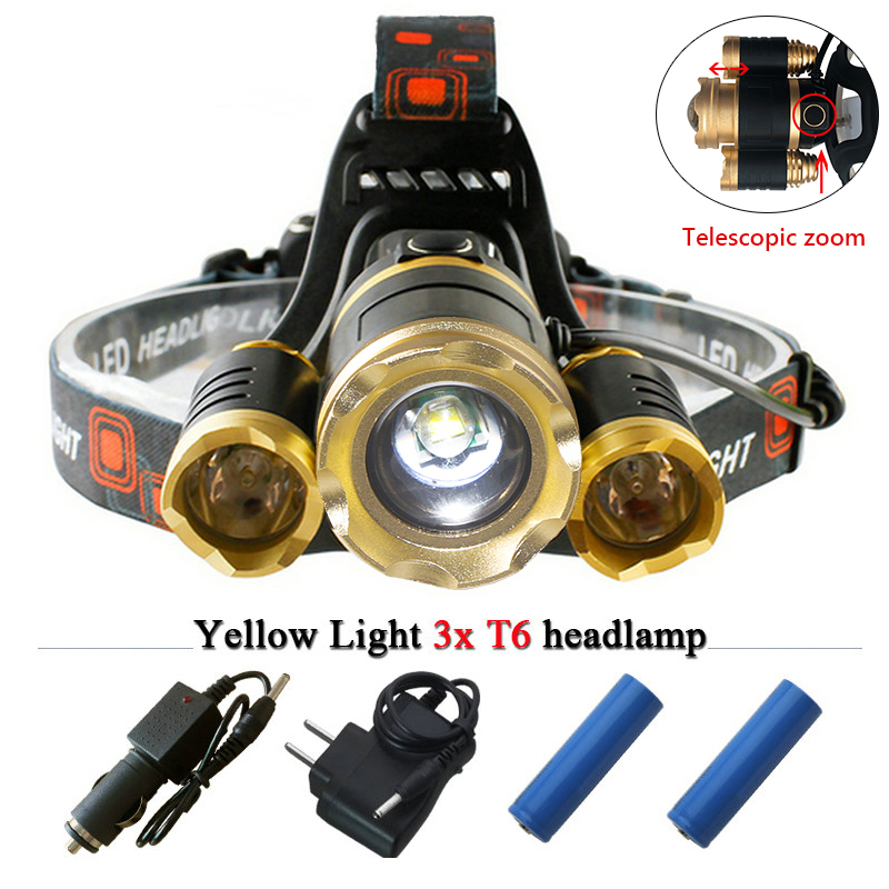 Powerful LED headlight 3T6 12000 Lumens CREE headlamp Zoomable Rechargeable LED Head lamp camping lights 18650 lampe frontale