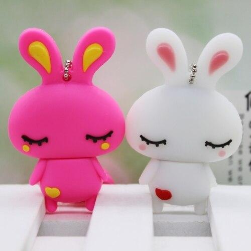 Cute Pink Rabbit USB Flash Drive 64gb USB 3.0 Stick Pendrives Disk On Key Flash Memory Pen Drive 32GB 16GB 128GB Card 512GB Gift