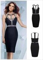 Kayış Siyah Katı Kadın Elbise Boncuk Diz Boyu Bandaj Elbise Akşam Parti Elbise
