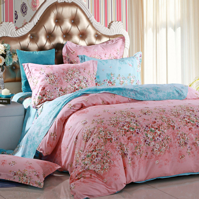 100 Cotton Duvet Cover Queen Floral Pink Comforter Sets Wedding