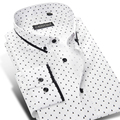 2017 Men's Polka Dot Printing Pattern Casual Shirt Long Sleeve 100% Cotton Contrast Colors Slim fit Button-down Dress Shirts