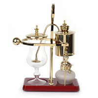 Glass Syphon Siphon Drop Coffee Maker Pot 4 Cups Belgian Belgium Luxury Royal Family Balance Polished Rose Gold Color