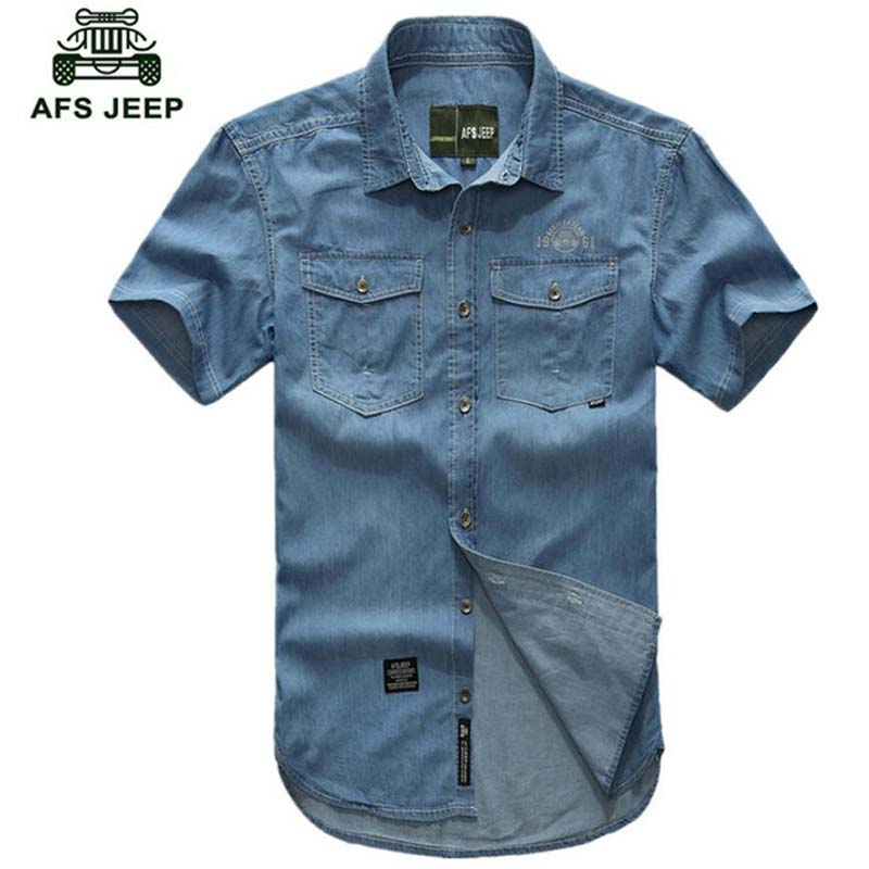 AFS JEEP Plus Size 5XL Denim Shirt Men 2018 Causal Short Sleeves Men Shirt Turn-down Collar Camisa Masculina Brand Clothing