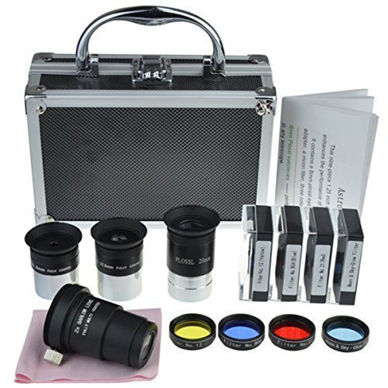 Astronomical Telescope Accessory Kit - With Telescope Plossl Eyepieces Set, Filter Set, 2x Barlow Lens Etc