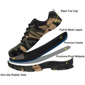Image 3 - JACKSHIBO Мужская безопасная обувь со стальным носком, рабочие/защитные ботинки размера плюс, мужские защитные ботинки с защитой от проколов, рабочие дышащие кроссовки