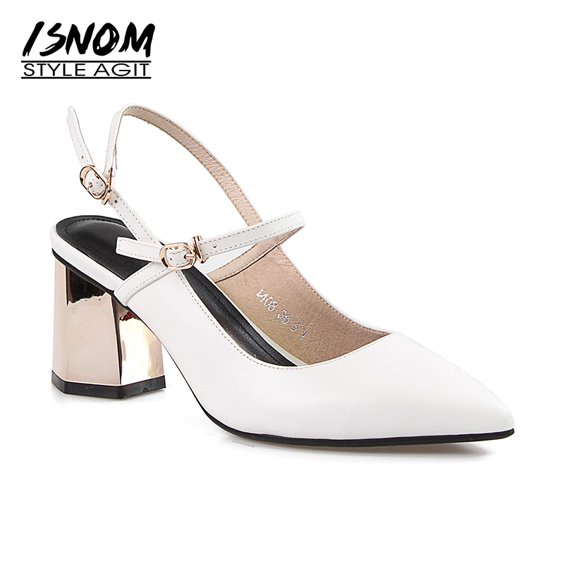 ISNOM Summer High Heels Sandals Women Pointed Toe Sandals Shoes Strange Style Footwear Cow Leather Fashion Office Ladies Shoes summer 2017 office ladies basic thin high heels sandals comfortable shallow women shoes with pointed toe
