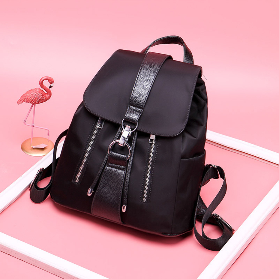 HTB1fPXJKkOWBuNjSsppq6xPgpXaz - Women Backpack School Bags For Teenager Girls Nylon Zipper Lock Design Black Femme Mochila Female Backpack Fashion Sac A Dos